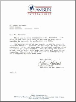 Amblin Letter